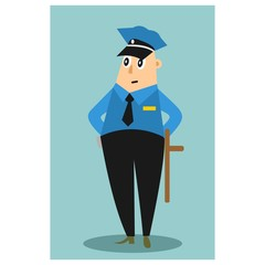 funny chubby policeman security cartoon character