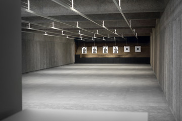 Strzelnica. tarcza strzelecka na strzelnicy sportowej