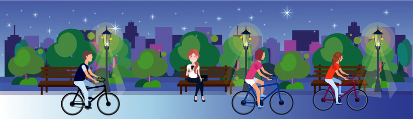 public urban night park woman man sitting wooden bench outdoors walking cycling running green lawn trees on city buildings template background flat banner vector illustration