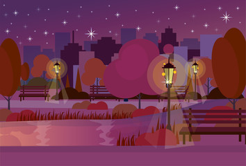 night city park wooden bench street lamp river lawn trees on city buildings template background flat vector illustration
