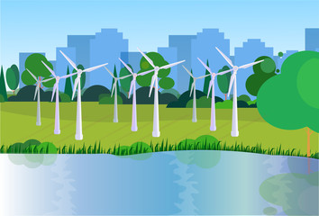 city park clean energy wind turbines river green lawn trees on city buildings template background flat vector illustration