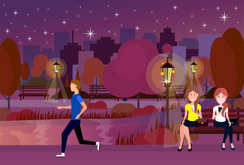 public night urban park people outdoors running sitting wooden bench street lamp on city buildings template background flat vector illustration