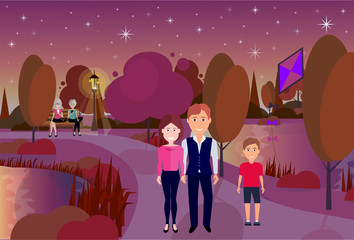 public night park boy hold kite people active rest outdoors wooden bench river lawn trees on city buildings template background flat vector illustration