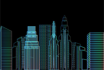 night city skyscraper view nature pollution over cityscape white background skyline flat vector illustration