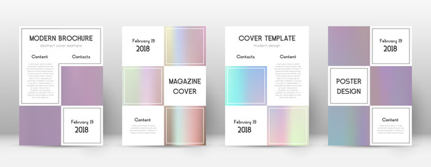 Flyer layout. Business beautiful template for Brochure, Annual Report, Magazine, Poster, Corporate Presentation, Portfolio, Flyer. Alive pastel hologram cover page.