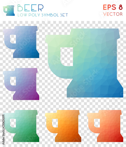 Entzuckend Beer Geometric Polygonal Icons. Alive Mosaic Style Symbol Collection.  Uncommon Low Poly Style.