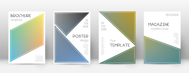 Flyer layout. Triangle classy template for Brochure, Annual Report, Magazine, Poster, Corporate Presentation, Portfolio, Flyer. Bewitching color transition cover page.