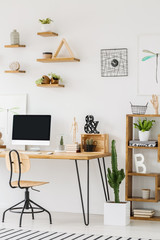 Wooden desk with a computer, chair, shelves on the wall and cactus next to a cupboard in a workspace interior. Place your product