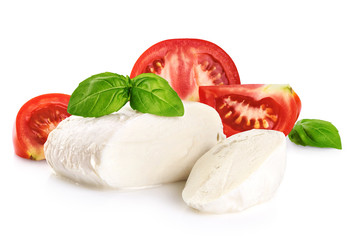 Mozzarella tomatoes and basil isolated on white background.