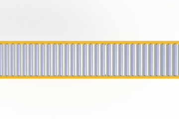 Top view empty yellow conveyor line isolated on a white background, Delivery concept, 3d rendering
