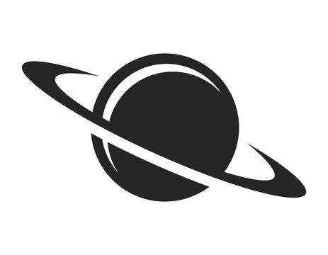 Vintage black saturn planet icon