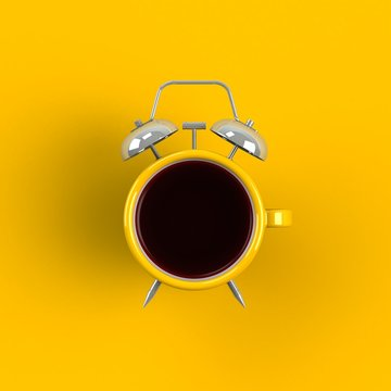 Alarm clock and coffee concept illustration isolated on yellow background, Top view with copy space, 3d rendering