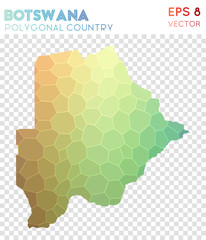 Botswana polygonal map, mosaic style country. Creative low poly style, modern design. Botswana polygonal map for infographics or presentation.