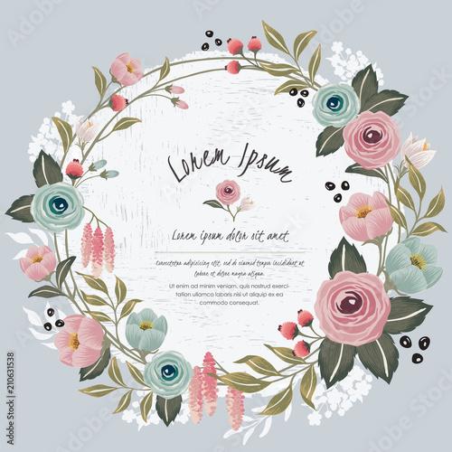 Vector illustration of a floral frame in spring for Wedding ...