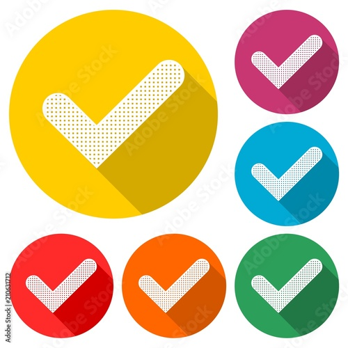 Checkmark icon, color icon with long shadow