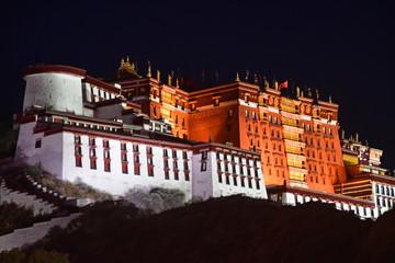 Poster Lama Tibet, Lhasa, China, June, 02, 2018. Potala Palace - the former residence of the Dalai Lamas at night