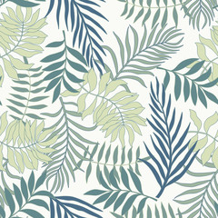 Tropical background with palm leaves drawn in the shape of a heart. Summer vector illustration