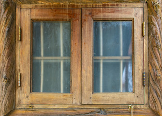 The window glass. Old wooden frame.