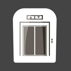Elevator colored sticker  with button vector icon. Layers grouped for easy editing illustration.  For your design.