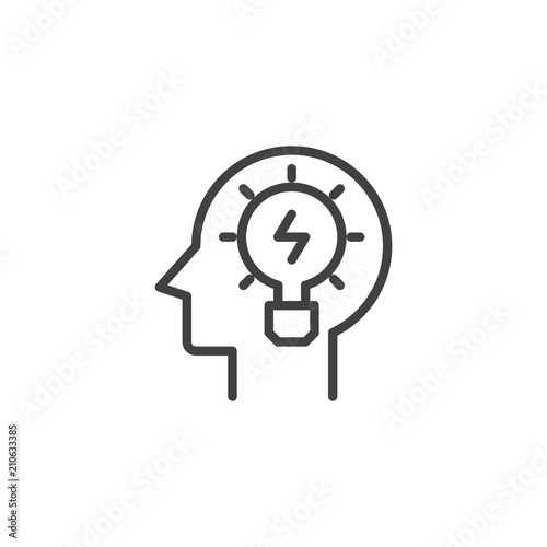 Head With Light Bulb Outline Icon Linear Style Sign For Mobile