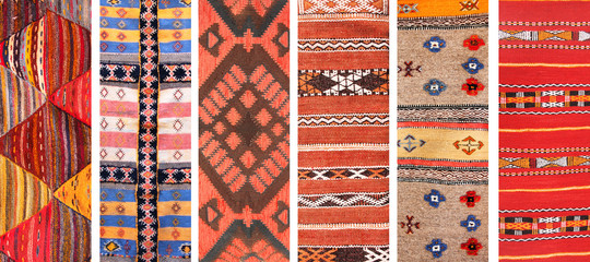 Set of banners with textures of berber traditional wool carpets