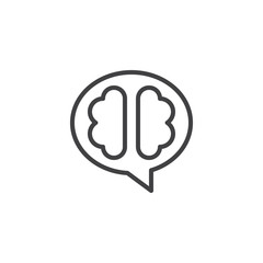 The human brain outline icon. linear style sign for mobile concept and web design. Brain think simple line vector icon. Symbol, logo illustration. Pixel perfect vector graphics