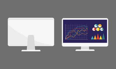 Computer monitor icon in flat style with graph, diagram and charts. PC desktop display. Vector illustration.