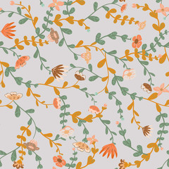 Meadow. Wildflowers pattern. Hand drawn Floral pattern. Seamless vector texture. Elegant template for fashion prints. Surface with meadow flowers and herbs.