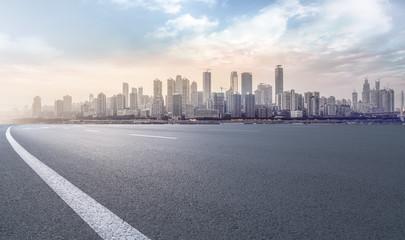 Prospects for expressway, asphalt pavement, city building commercial building, office building