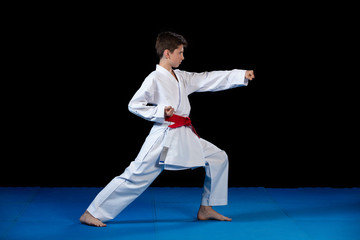 Young boy dressed in a white karate kimono with red belt.
