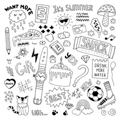 Doodle set. Hand drawn illustration in vector.