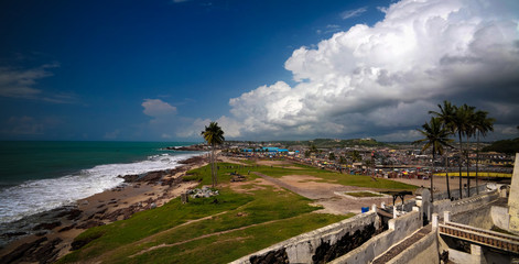 Landscape view from the roof of Elmina castle and fortress, Ghana