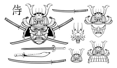 Set of different elements of samurai design - samurai mask, helmet, Japanese sword, katana sword, skull. Mask of a samurai warrior with a sword. Vector graphics to design.