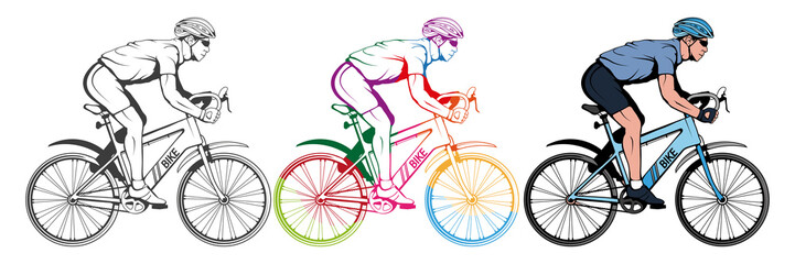 Set of various cycling elements. Cyclist on a bicycle. Sports bike. Bicycle helmet. Man riding a bike. Vector graphics to design.