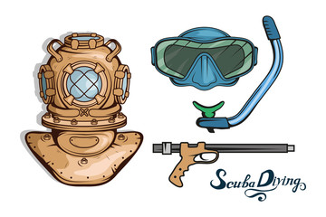 Set for design on diving. Scuba diving logo. Diver with scuba . Scuba-diving helmet. Vector graphics to design.