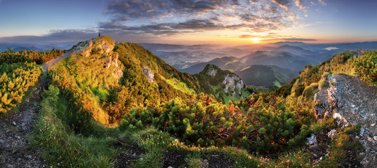 Wall Mural - Landcape of mountain at sunset panorama from peak Velky Choc, Slovakia