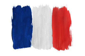 Painted French flag isolated Wall mural