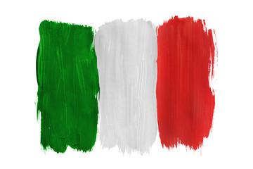 Painted Italian flag isolated