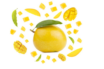 Mango tropical fruit isolated white background