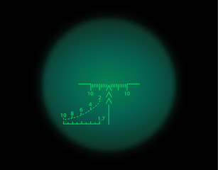 View through the optical sight. Night vision style
