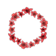 Round rose frame for greeting card or text, vector illustration.