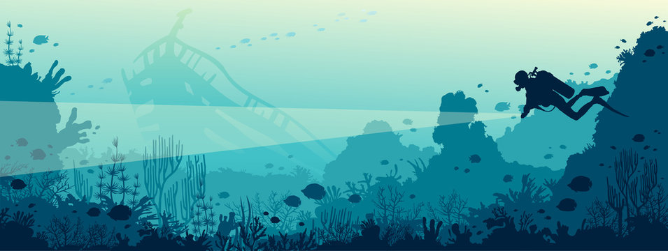 Scuba diver, underwater wreck, coral reef, sea.