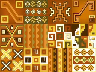 Aztec Chile language pattern seamless boho style.