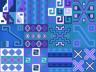 Aztec Chile language pattern. Seamless illustration in boho style.