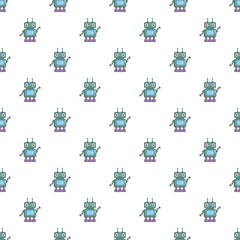 Robotic toy pattern seamless repeat in cartoon style vector illustration