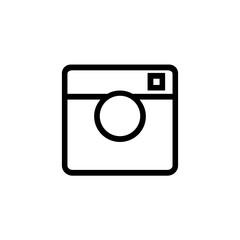 Black camera on white background icon