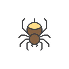 Spider filled outline icon, line vector sign, linear colorful pictogram isolated on white. Hanging spider on spiderweb symbol, logo illustration. Pixel perfect vector graphics