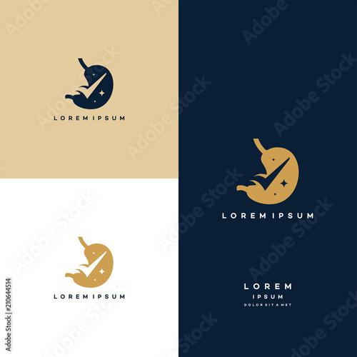 Stomach logo inspiration, Stomach Check logo designs vector