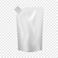 Plastic pouch with batcher mockup. Realistic illustration of plastic pouch with batcher vector mockup for web