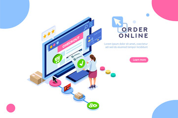 Purchase, customer order online, concept of sale. Character at shopping. Vector cart, can use for web banner, infographics, hero images. Flat isometric illustration isolated on white background.